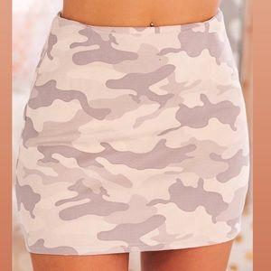 Pink camo mini skirt